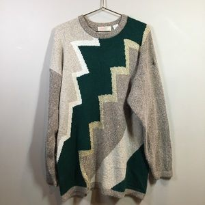 Vintage Knitted Zig-Zag Colorblock Sweater